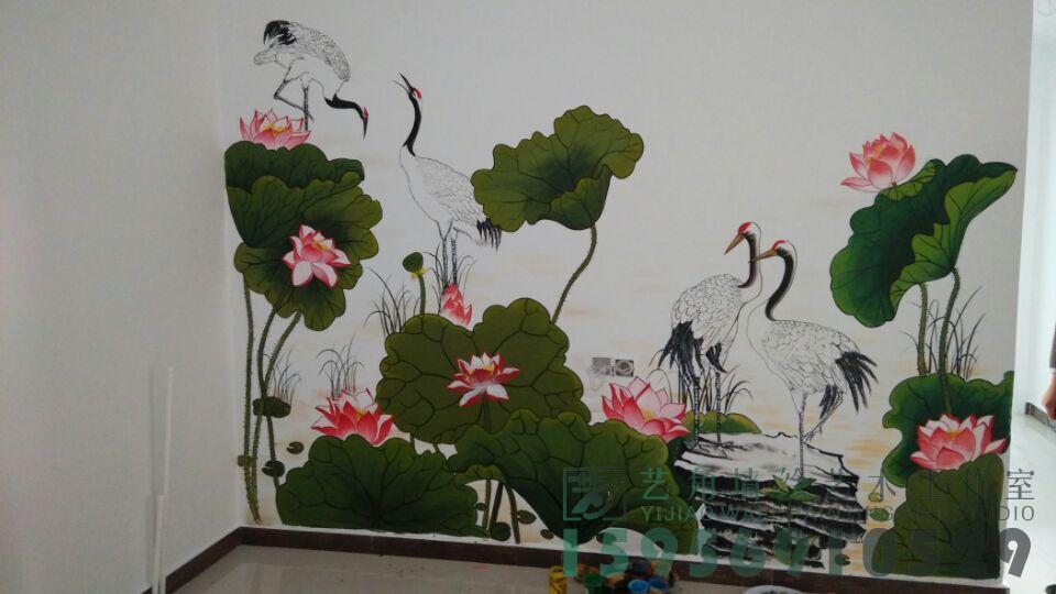太和县家装电视背景墙手绘荷花仙鹤图
